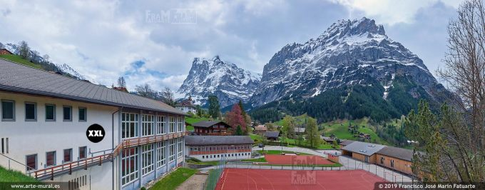 JF740205. Grindelwald town with mountains in the background. Switzerland