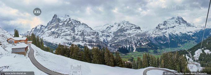 JF747106. Eiger, Schreckhorn and Mittlehorn mountain panorama. Switzerland