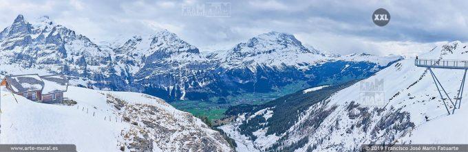 JF759706. Grindelwald-First mountain panorama. Switzerland