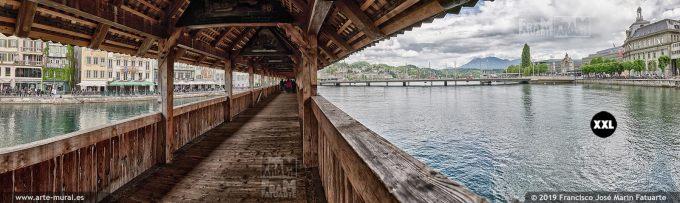 JF862054. View of River Reuss under Kapellbrücke, Lucern (Switzerland)