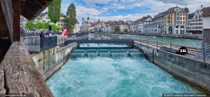 JF876503. View of Reuss river from Spreuer Bridge, Lucerne (Switzerland)