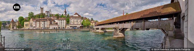 JF879105. River Reuss, Spreuer Bridge and old town skyline, Lucerne (Switzerland)