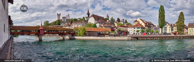 JF880404. River Reuss and old town skyline, Lucerne (Switzerland)