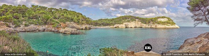 K8585006 Cala Mitjana and Mitjaneta panorama. Menorca (SPAIN)
