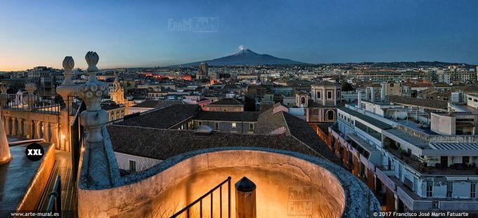 H5853353. Catania skyline and Etna. Sicily (Italy)
