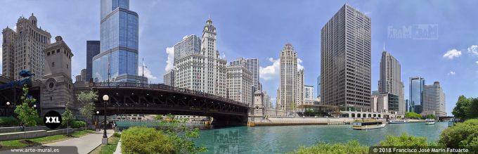 I6742907. Dusable bridge and river.