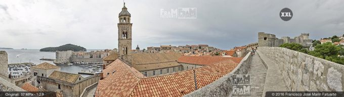 G3828505. Old Port and city of Dubrovnik from city fortifications (Croatia)