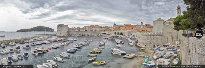 G3877104. Old Port of Dubrovnik from city fortifications (Montenegro)