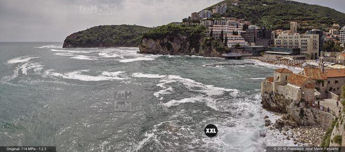 G3768203. View of Pizana beach from top of Budva Citadela (Montenegro)