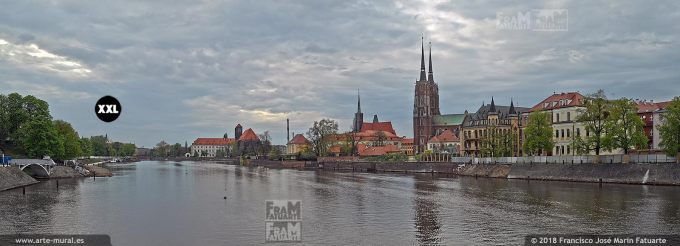 EL1402502. River with a cathedral in the background, Oder River, Cathedral Island, Wroclaw, Silesia, Poland