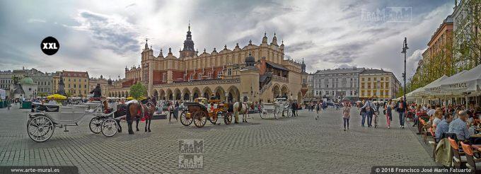 EL1414913. Horse coaches and Cloth Hall at market square, Krakow, Poland