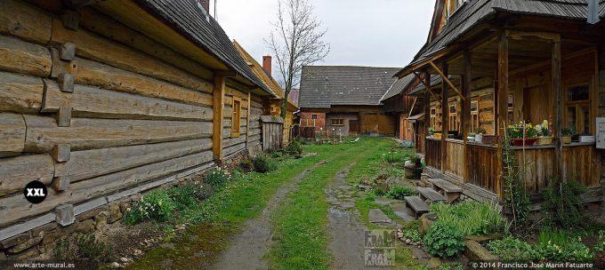 EL1477712. Polish goral highlanders wooden houses in Chocholow, Gmina Czarny Dunajec, Nowy Targ County, Lesser Poland Voivodeship, Poland