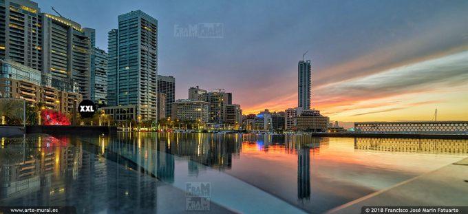 IF106602. Sunset at Zaitunay Bay Beirut Marina. Lebanon