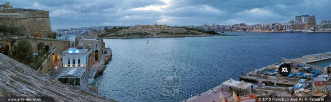 FQ043605. Manoel Island, and Tigne seafront from Valleta