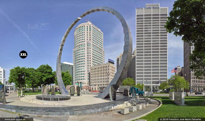 I6520604. Michigan Labor Legacy Monument. Detroit USA