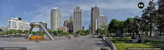 I6522604. Hart Plaza during Memorial Day preparation. Detroit USA