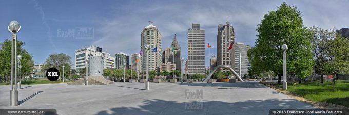 I6523704. Hart Plaza during Memorial Day preparation. Detroit USA