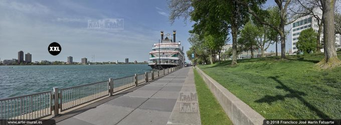 I6525903. Detroit Riverwalk with Detroit Princess Riverboat. Detroit USA