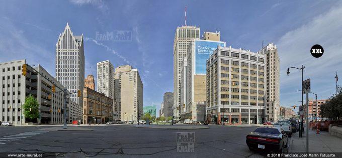 I6530408. Detroit citiscape, around Cadillac square. Detroit USA